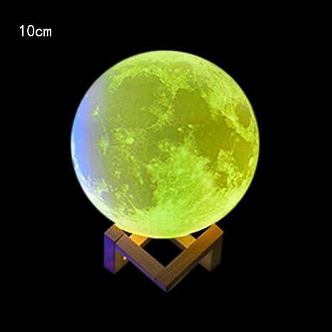 3D USB Luces de mano Luna Noche Luz Mesa de luz de luna Escritorio Lámpara de Luna Regalo Juguete By LMMVP (B(10CM), Multicolor)