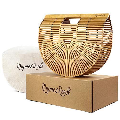 Rhyme & Reed Bamboo Handbag - Large Womens Handmade Summer Beach Top Handle Purse Tote + Dust Cover & Gift Box