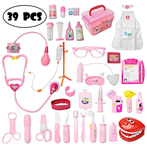 (Mysterystone Toddler Doctor Kit with 39Pcs Pretend Play Toys Dentist Medical Equipment)