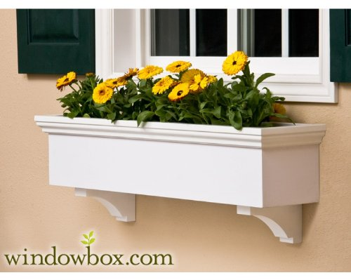 60 Inch New Haven Direct Mount No Rot PVC Composite Flower Window Box w/ 2 Decorative Brackets by Windowbox