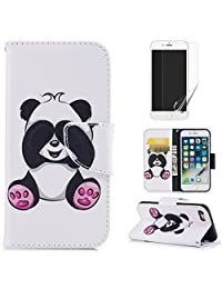 For iphone 7/8 Wallet Case and Screen Protector,OYIME [Colorful Painting] Elegant Pattern Design Bookstyle Leather Holster Kickstand Card Slots Function Full Body Protection Bumper Magnetic Closure Flip Cover with Wrist Lanyard - Cute Panda
