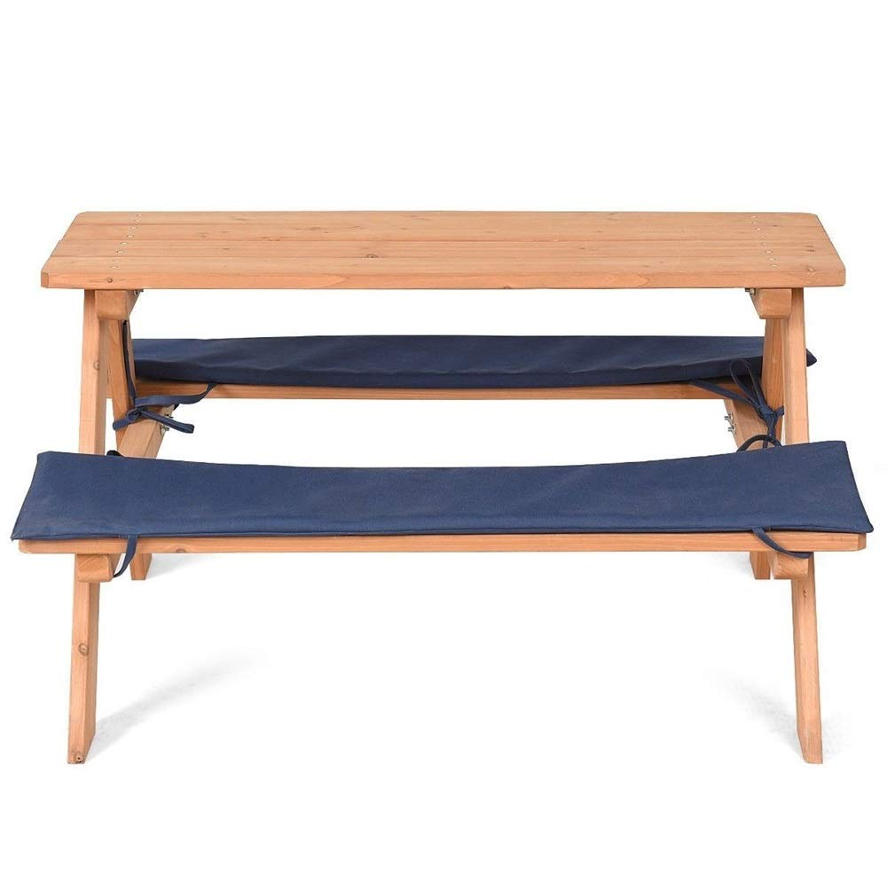 veveshop 4 Seat Kids Children Wooden Beach Picnic Table Bench Set with Cushion Garden for Indoor or Outdoor use 31x35x20 inch 1pc. by veveshop