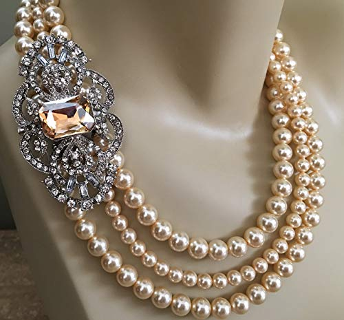 Pearl Necklace Set with Broach and Earrings Wedding Jewelry in 3 multi strands Swarovski pearls in your choice of color by Alexi Blackwell Bridal