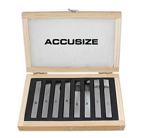 AccusizeTools - 8 pcs H.S.S. Tool Bit Set, Pre-Ground for Turning & Facing Work, for Aluminum.Steel, Brass, Plastic & Wood (3/8 inch) by Accusize Industrial Tools