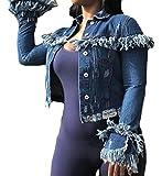 Jotebriyo Women Button Down Cut Off Ripped Short Crop Denim Jacket Jean Coat with Tassles Dark Blue XL