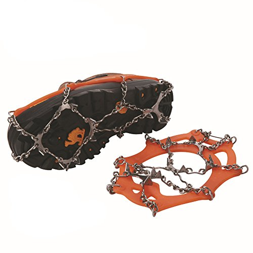 12 Teeth Claws Crampons Non slip Shoes Cover Stainless Steel Chain Outdoor Ski Ice Snow Hiking Climbing