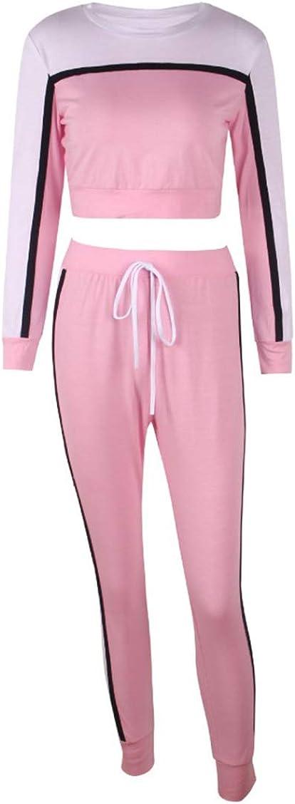 laamei 2 Pi/èces Femmes Ensemble Surv/êtement Sports Suits Manche Longue Veste Blouson Sweat-Shirt Jogging Pantalon Sports