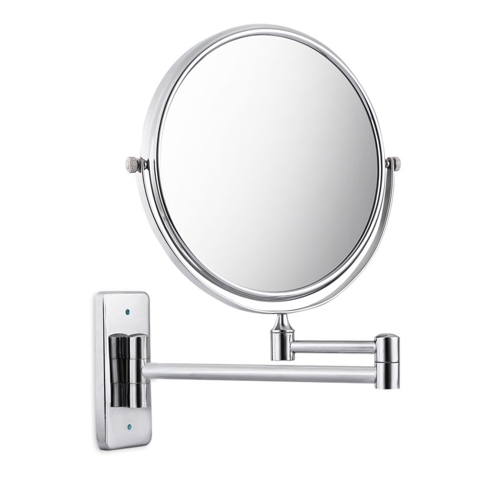Najer Bathroom Mirror 3X/1X Magnification Double-sided 8 Inch Wall Mounted Vanity Magnifying Mirror 360° Swivel, Extendable and Chrome Finished