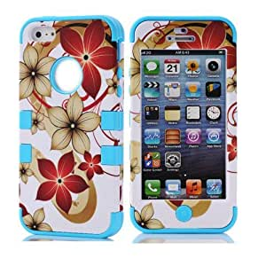 Andre-case 3in1 Beautiful Flowers fashion Cover case cover Suitable Fit For iPhone 5s for kids XcDyFBFLzzo Blue