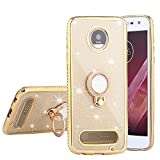 #10: CaseHaven Moto Z2 Play Case, Bling Diamond Rhinestone Glitter Sparkle Luxury Soft Slim Case With Crystal Ring Holder Stand & Lanyard For Motorola Moto Z2 Play 2nd Gen (2017 Release) - Gold