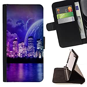 DEVIL CASE - FOR Sony Xperia M2 - Fantasy Sci Fi Planet World Neon - Style PU Leather Case Wallet Flip Stand Flap Closure Cover