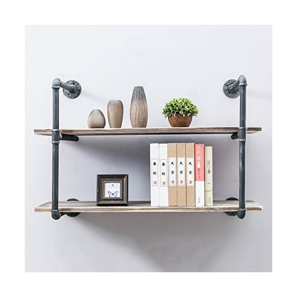 Industrial Pipe Shelves with Wood 2-Tiers,Rustic Wall Mount Shelf 36.2in,Metal Hung Bracket Bookshelf,DIY Storage Shelving Floating Shelves 4