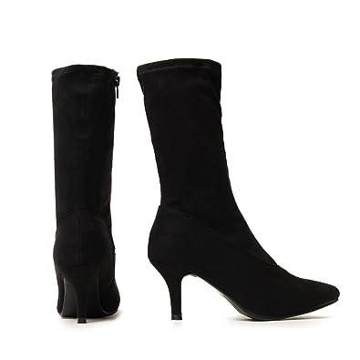 Shoe Closet Ladies Black Sock Stretch Kitten Heel Ankle Boots  UK3 EURO36 AUS4  f9fa11dbba1d