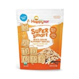 Happy Tot Organic Super Smart Multi-Grain Alphabet Toddler Snacks Vanilla Oat Plus Flaxseed, 4.4 Ounce Bag (Pack of 8) Multi-Grain Gluten-Free Alphabet Snack for Toddlers