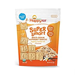 Happy Tot Super Smart Alphabet Snacks Organic Toddler Snacks, Cinnamon Sweet Potato Plus Flaxseed, 8 Count