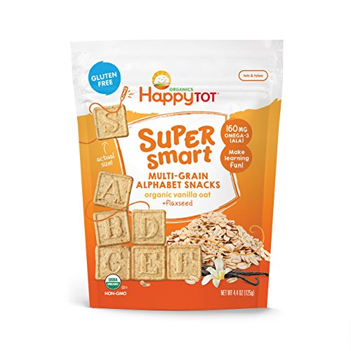 Happy Tot Super Smart Alphabet Snacks Organic Toddler Snacks, Vanilla Oat Plus Flaxseed, 8 Count (Packaging May Vary)
