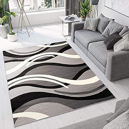 Tapiso Dream Tapis De Salon Chambre Design Moderne Noir Gris Blanc Abstrait Ondes Vagues Fin Doux Poil Court 160 X 220 Cm
