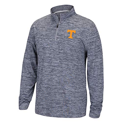 Top of the World NCAA Men's Tennessee Volunteers Dark Heather Space Dyed Poly Quarter Zip Pullover Graphite Small