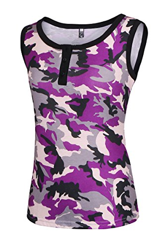 YANDW Button Scoop Neck Camo Tank Tops Ringer Tee Two Tones Camis Sleeveless Shirts for (Camo Ringer)