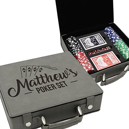 (The Wedding Party Store Custom Poker Set Case - Personalized Gifts for Poker Player - Engraved for Free (Gray))