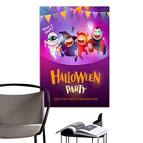 UHOO Arts PaintingHalloween Celebration Fun Party Group of Kids in Halloween Costume .jpg Artwork for Gift for Home Decor 20