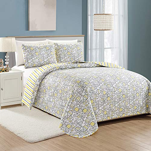 Oreti Coastal Collection 3 Piece Quilt Set with Shams. Reversible Beach Theme Bedspread Coverlet. Machine Washable. (Full/Queen, Yellow/Grey)