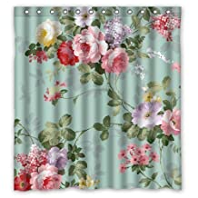 """Generic Personalized Mint Green Floral for Shower Curtain Bath Curtain 66 x72"""""""""""