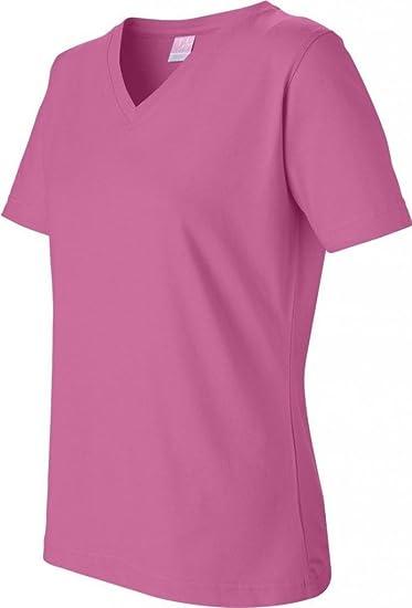 03f16034301f Amazon.com: LAT Sportswear Women's Cotton V Neck T-Shirt - Medium ...