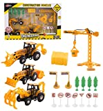 Toy Construction Playset Site 20 Pc Mini Diecast Toy Vehicle Playset w/ Variety of Vehicles, Accessories Construction Vehicle Cars Trucks Signs