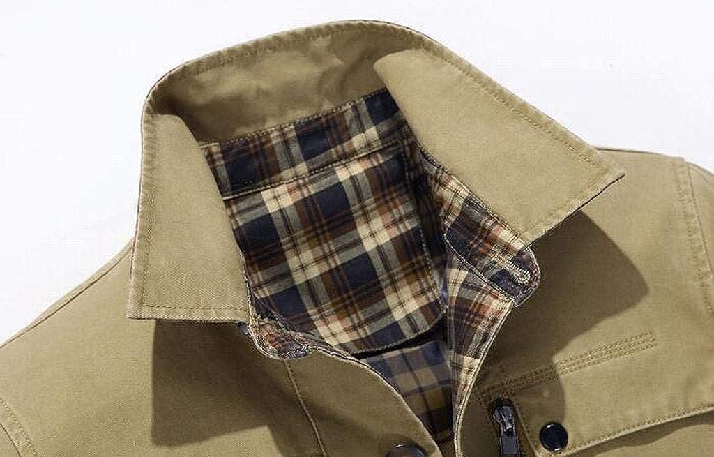 FSSE Men Loose Cotton Single Breasted Plain Trench Coat Windbreaker Jacket