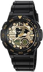 Casio Men's '3D Dial' Quartz Resin Automatic Watch, Color:Black (Model: AEQ100BW-9AV)