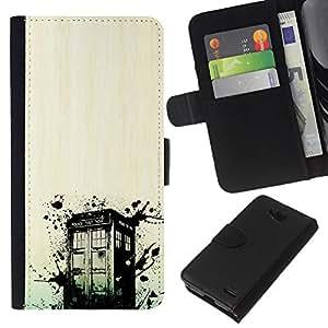 NEECELL GIFT forCITY // Billetera de cuero Caso Cubierta de protección Carcasa / Leather Wallet Case for LG OPTIMUS L90 // Dr 0MS Policía Box Grunge