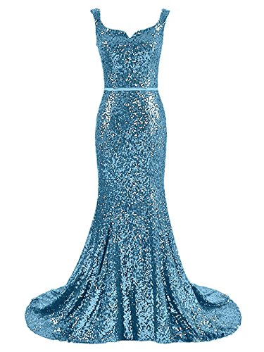 Prom Dresses Sky Plus Evening Long Women's Formal Blue Gowns Sequins Mermaid Size DreHouse xItPA