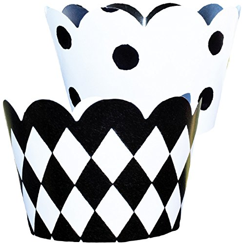 Black and White Checkered Party Supplies, Alice in Wonderland Party, 50s, Racing Theme, Confetti Couture, 36 Decorative Wraps