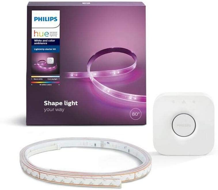 "Philips Hue White and Color Ambiance LED Dimmable Light Strip Plus Dimmable Smart Light Starter Kit - 555243 (80"" Strip and Bridge) - Compatible with Alexa, Apple HomeKit, and Google Assistant"