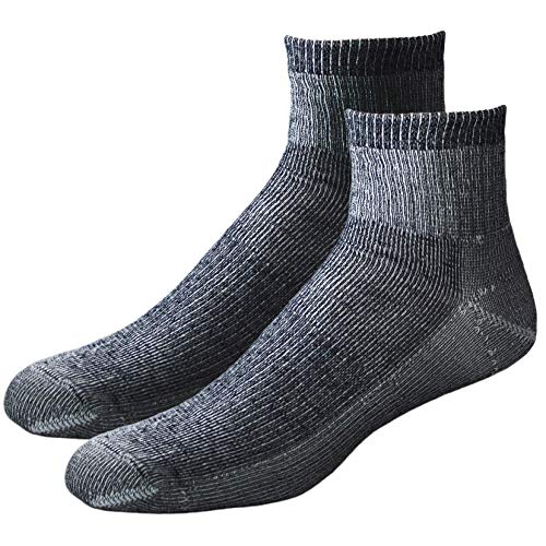 EchoGorge Mid-Weight Merino Wool Quarter Socks, 2 Pair. Made in USA (Large, Charcoal)