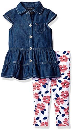 2 Piece Denim Set (Tommy Hilfiger Baby Girls' 2 Pieces Pants Set-Denim Tunic, Navy/Red, 12M)