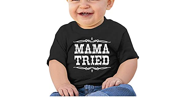 Mama Tried Retro Country Music Toddler Short-Sleeve Tee for Boy Girl Infant Kids T-Shirt On Newborn 6-18 Months