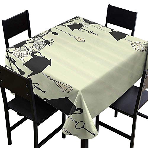 (SKDSArts Tablecloth Custom Antique Decor,Antique Background with Tea Party Theme Diamonds Feathers Forks Spoons Cups Image,Black Avocado Green,W36 x L36 Patterned Tablecloth)