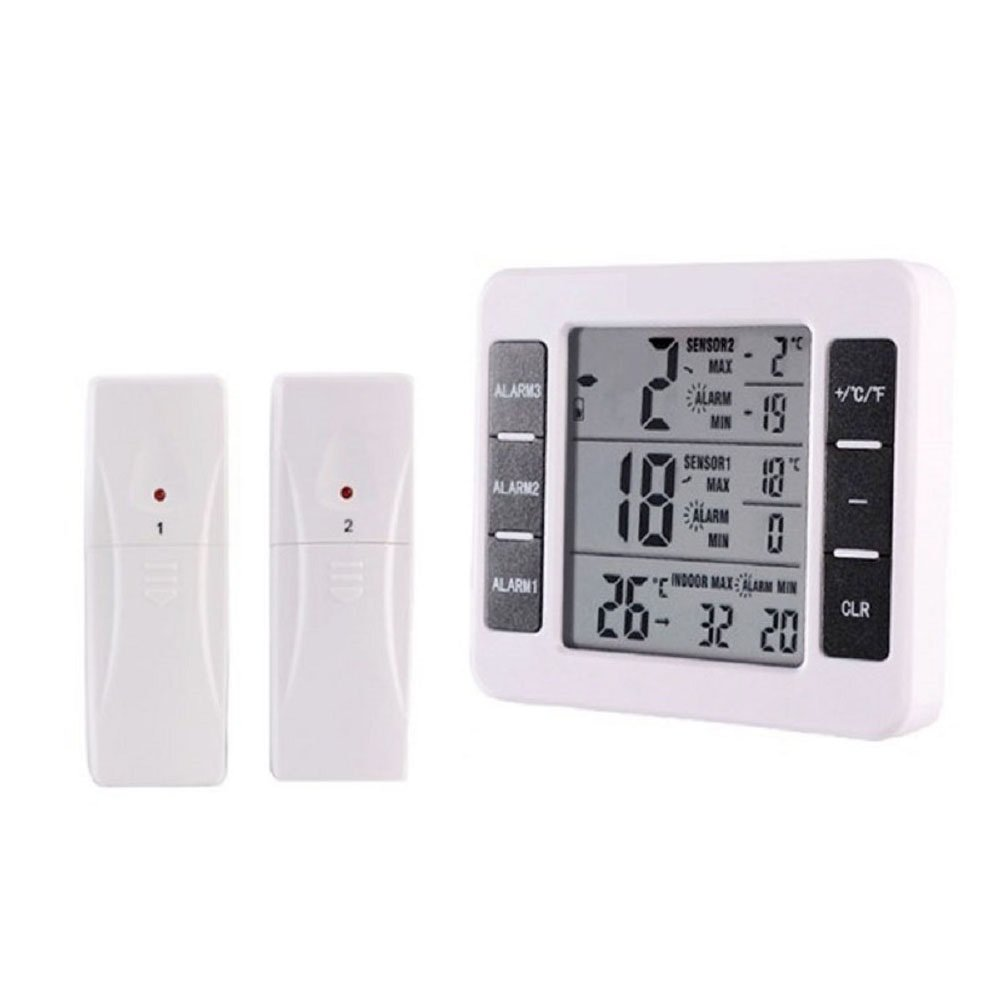 Refrigerator Thermometer Wireless Digital Freezer Thermometer with 2PCS Wireless Sensors with Audible Alarm for Indoor Outdoor Thermometer (Battery not Included)