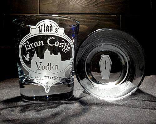 Unique Halloween Rocks Glass Etched Vampire Vodka Coffin Vlad]()