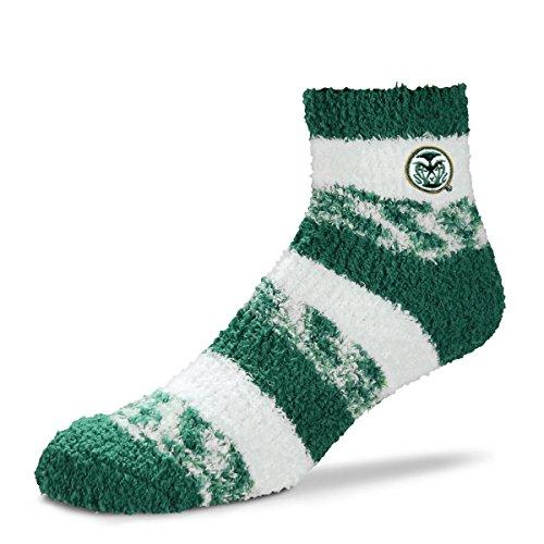 (For Bare Feet NCAA RMC Pro Stripe Fuzzy Sleep Soft Sock -Colorado State Rams-Size-Medium)