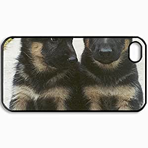Customized Cellphone Case Back Cover For iPhone 4 4S, Protective Hardshell Case Personalized 6 Week Old German Shepard Pups Black