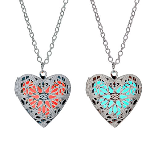 LightOnIt Vintage Necklace-Aqua Large Star Locket Pendant Glowing in the Dark 2 pack (Pink and blue silver plated)