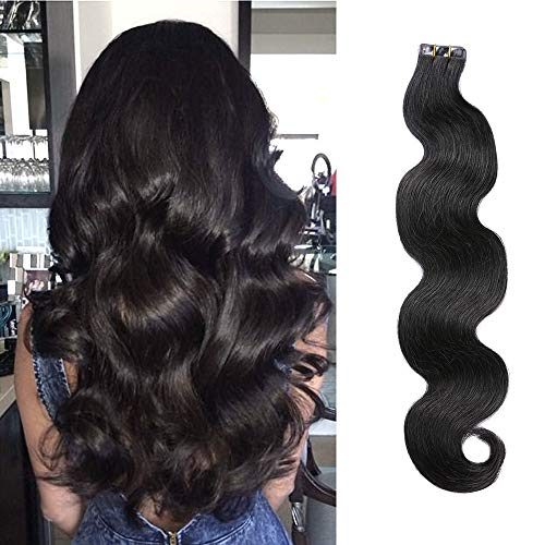 (Wavy Tape in Extensions Natural Black 1B Body Wave Glue in Extensions Seamless Hair Extensions Human Hair 18