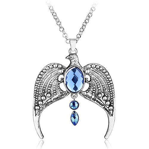 Magical Jewelry Gift Co. Ravenclaw Crown Chain Pendant Necklace - Blue/Silver (0.9 oz)