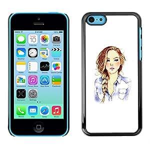 For Apple iPhone 5C Case , Girl Fashion Hair Minimalist White - Diseño Patrón Teléfono Caso Cubierta Case Bumper Duro Protección Case Cover Funda