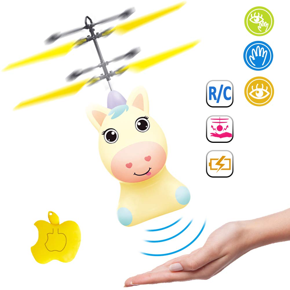 Unicorn Flying Ball RC Toy for Kid Girls,Inductive Flying Toys Drone Helicopter with Remote & Hand Controlled Rechargeable Flash Light Indoor Outdoor Light Up Toy Party Favors Supplies Gift (Yellow) by GreaSmart