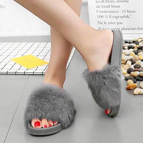 Tenworld Mujeres Antideslizante Soft Fluffy Faux Fur Flat House Zapatillas Gris