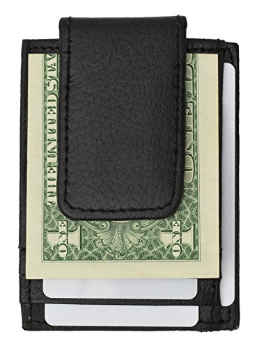 (910eb Fine Leather Hand Crafted Mans Man's Mens Men's Mini Wallet Id Credit Card Holder with Magnetic Money Clip (Black))